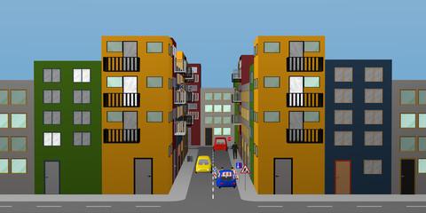 Stadtlandschaft mit bunten Häusern, Personen, Autos, Baustelle und Straßenschildern.
