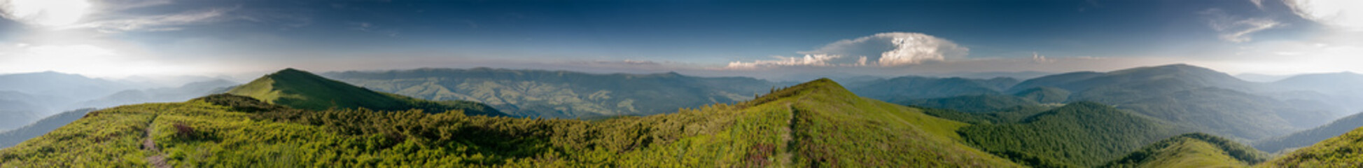 Panorama of the East Carpathian mountains