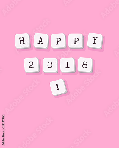 Happy new year 2018 - vector greeting card, poster, flyer