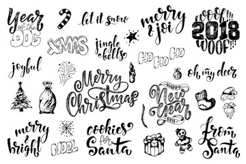 Vintage Merry Christmas And Happy New Year Calligraphic And Typographic Phrases. Hand drawn lettering quote and christmas elements