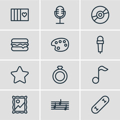 Vector Illustration Of 12 Lifestyle Outline Icons. Editable Set Of Skateboard, Microphone, Favorite And Other Elements.