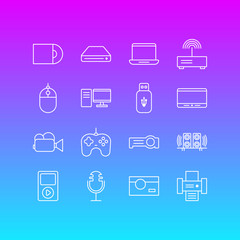 Vector Illustration Of 16 Gadget Outline Icons. Editable Set Of Loudspeaker, Usb Card, PC And Other Elements.
