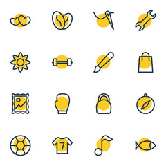 Vector Illustration Of 16 Hobby Outline Icons. Editable Set Of Seafood, Weight, Quaver And Other Elements.