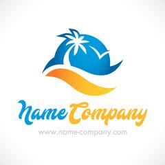 logo mer océan vacances palmier