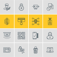 Vector Illustration Of 16 Privacy Outline Icons. Editable Set Of Camera, Network Protection, Safety Key And Other Elements.
