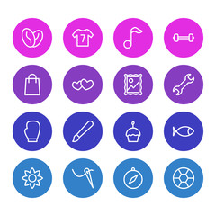 Vector Illustration Of 16 Entertainment Outline Icons. Editable Set Of Petal, Barbell, Soccer And Other Elements.