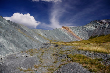 Mountain valley with rocks and green grass on the background colored colorful white gray peaks Yarlu valley Altai Mountains Siberia, Russia