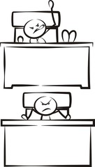 angry boss sitting behind the desk - stickman