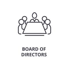 board of directors line icon, outline sign, linear symbol, flat vector illustration