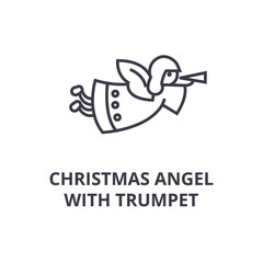 christmas angel with trumpet line icon, outline sign, linear symbol, flat vector illustration