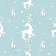 Reindeer Seamless Pattern with stars and dots