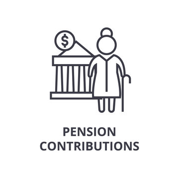 pension contributions line icon, outline sign, linear symbol, flat vector illustration
