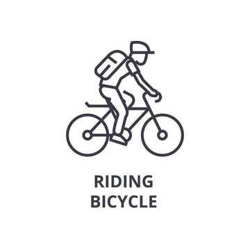 riding bicycle line icon, outline sign, linear symbol, flat vector illustration