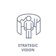 strategic vision line icon, outline sign, linear symbol, flat vector illustration