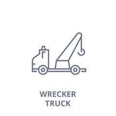 wrecker truck line icon, outline sign, linear symbol, flat vector illustration