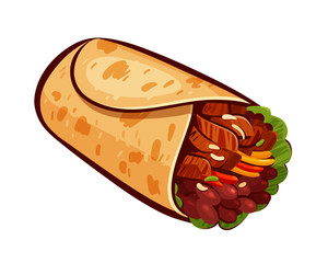 Burrito. Element of restaurant menu or eatery. Mexican food, meal, eating concept. Cartoon vector illustration