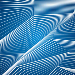 Designs of white lines on blue background. Abstract waves. Vector elements for you projects