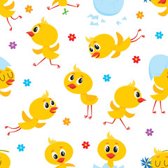 Easter seamless pattern, backdrop, textile design with cute baby chickens, egg shells and flowers, cartoon vector illustration on white background. Baby chicken seamless pattern, Easter design