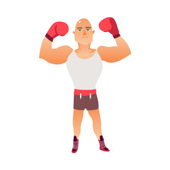 Young, bald Caucasian male boxer raising arms in boxing gloves, flat vector illustration isolated on white background. Front view full length portrait of young, bald Caucasian boxer