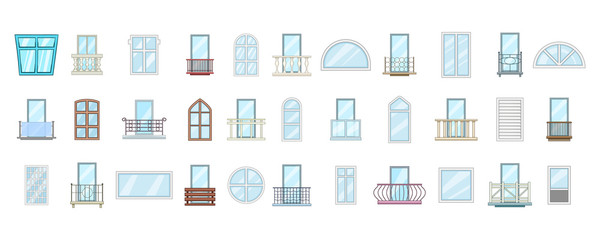 Window icon set, cartoon style