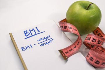 BMI body mass index formula rate formula in a notepad.