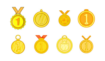 Medal icon set, cartoon style
