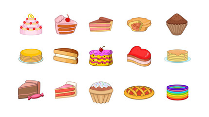 Cake icon set, cartoon style