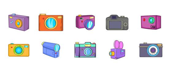 Camera icon set, cartoon style