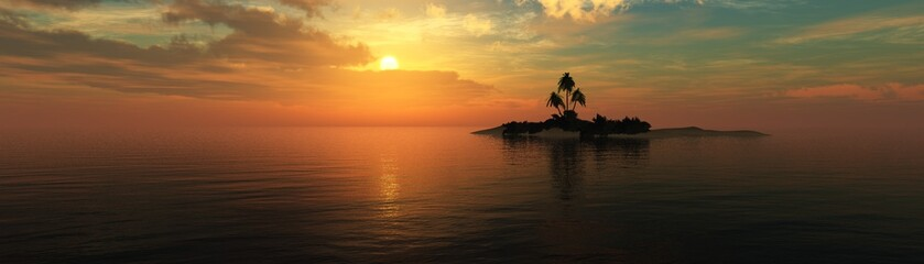 panorama of the sea sunset, beautiful sunset in the sea over a tropical island with palm trees,, 3d rendering
