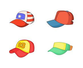 Baseball cap icon set, cartoon style