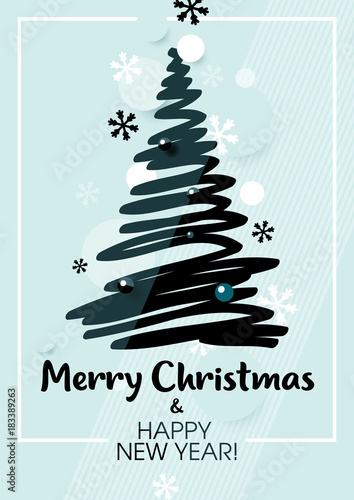 Vertical Blue Holiday Party Background With Drawing Christmas Tree Graphic Elements And Text