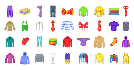 Clothes icon set, cartoon style