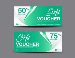 Gift Voucher template layout, business flyer design, jungle leaf background, green coupon, ticket, Discount card, banner vector illustration