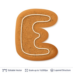 Gingerbread letter isolated on white.