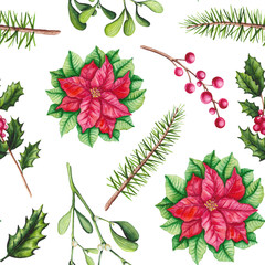 Seamless Pattern of Watercolor Poinsettia, Holly and Mistletoe