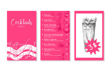 Cocktail menu in sketch style. Vector illustration