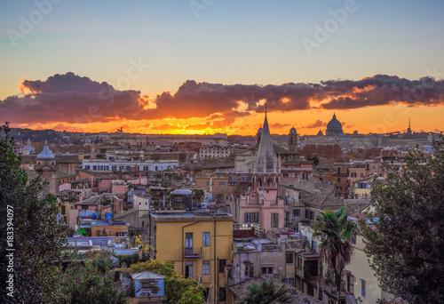 Rome (Italy) - The sunset from Terrazza del Pincio in Villa Borghese ...