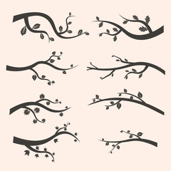 Stylized black tree branch silhouettes with leaves. Set of branch tree Vector Illustration EPS
