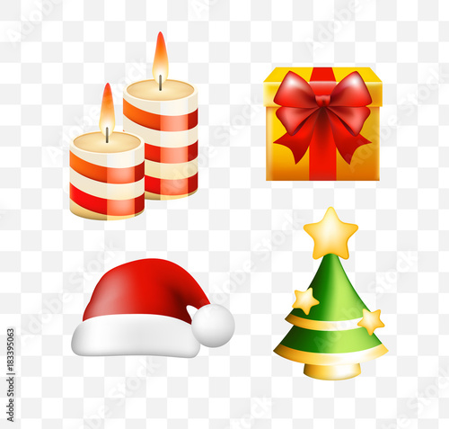 Christmas Time Set Of Elements On Transparent Background Isolated Vector Illustration