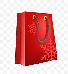 Christmas Time ! Shopping Bag on Transparent Background . Isolated Vector Illustration