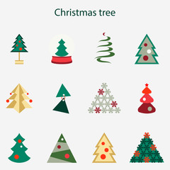 Vector illustration of different Christmas tree set