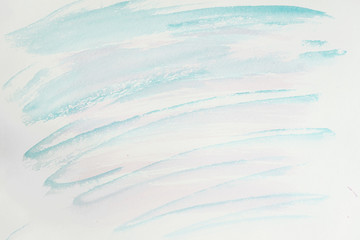 Abstract pink and blue shades. Close-up fragment of hand painted watercolor, delicate colors of brush strokes on white paper. Modern art background
