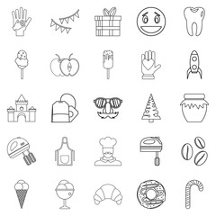 Confectionery shop icons set, outline style