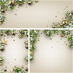Gold shiny bokeh backgrounds. Vector illustration.