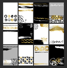 Creative fashion glamour hand drawn card set. Vector collection of black, white, gold textured cards. Beautiful posters with brush strokes.