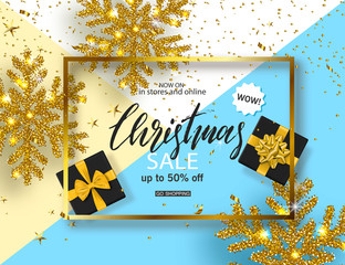 Christmas Sale poster with shiny snowflake, gift boxes and serpentine . Vector illustration. Design for invitation, banners, ads, coupons, promotional material.