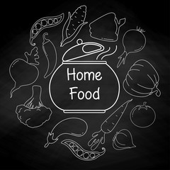 Different vegetables and a pot on a black background. Vector illustration in a linear style. The inscription is home food.