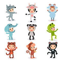 Colorful set of children in different animal costumes wolf, cow, sheep, elephant, panda, frog, tiger, monkey and cat. Kids wearing suits for party. Flat vector design