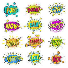 Pop art comic bubbles vector cartoon popart balloon bubbling colorful speech cloud asrtistic comics shapes isolated on white background illustration