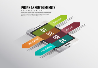 Mobile Phone Arrow Elements Infographic